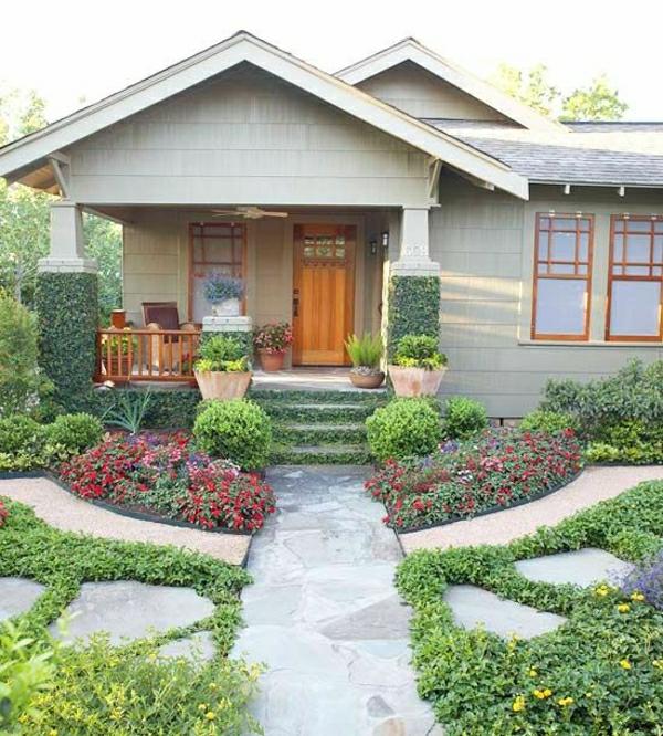 kleinen vorgarten gestalten vorgartengestaltung ideen farbiger exterior