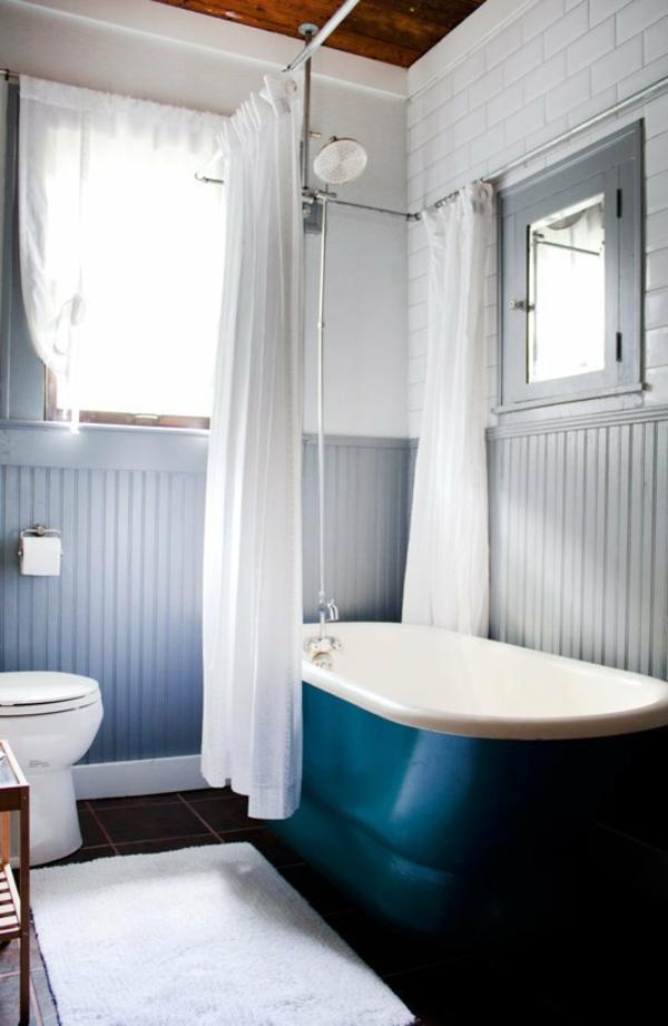 kleines bad einrichten ideen badewanne badvorhänge