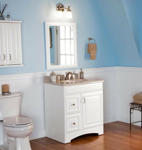 kleines badezimmer einrichten weiß hellblau waschbeckenunterschrank