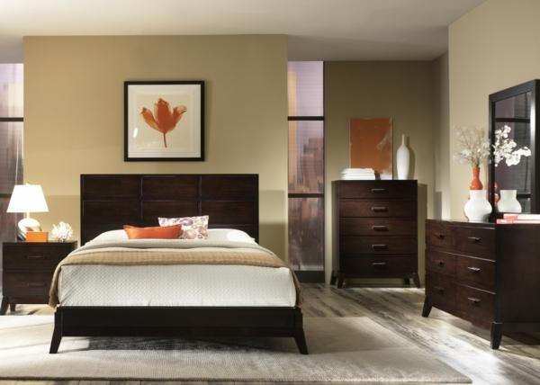 kleines schlafzimmer einrichten orange akzente
