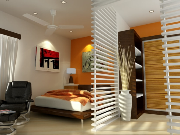 kleines schlafzimmer einrichten orange wandfarbe