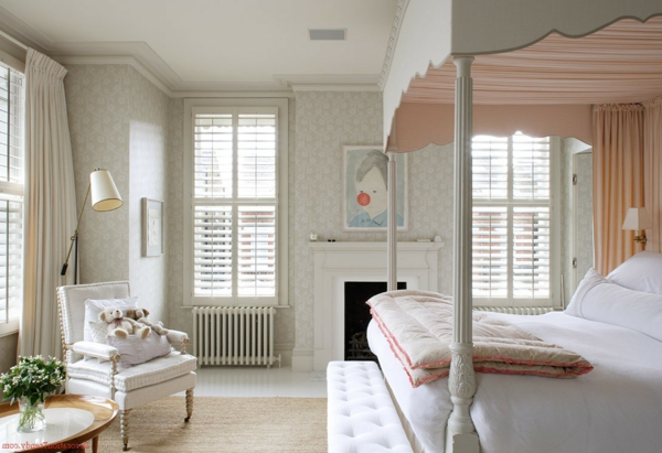 kleines schlafzimmer einrichten wandtapete sessel