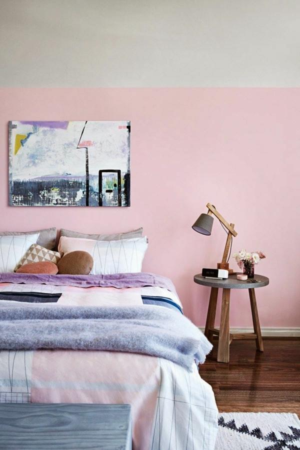 kleines schlafzimmer rosa wandfarbe pastellnuancen