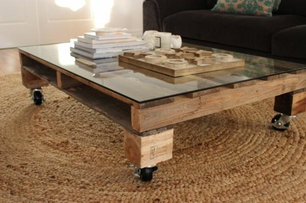 möbel aus paletten wohnzimmer tisch glas sisalteppich