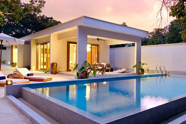 malediven urlaub moderne architektur pool