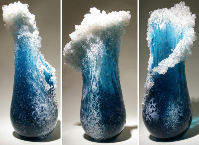 maritime Deko Vasen glas design ozean wellen vase