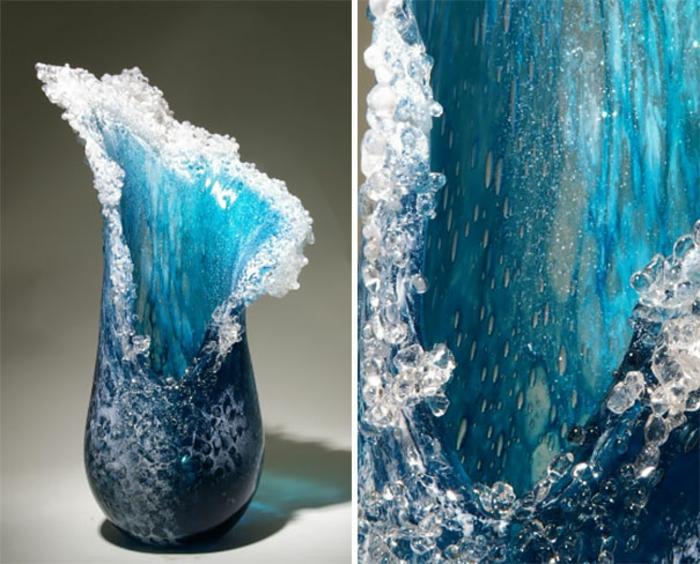 maritime Deko glas design ozean wellen deko vasen