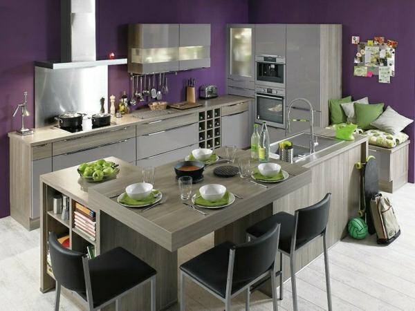metod küchen grau lila wandfarbe Küchendesign