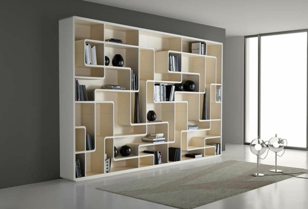 b cherregal wand designer wandregale im wohnzimmer. Black Bedroom Furniture Sets. Home Design Ideas
