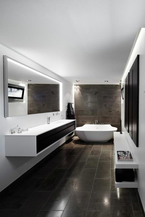 modernes badezimmer große bodenfliesen weiße einrichtung