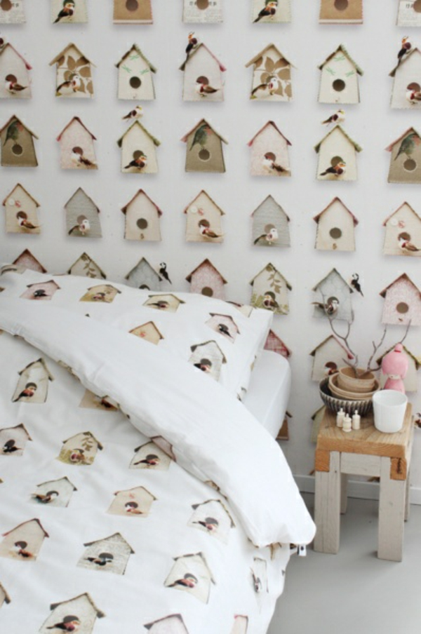 muster tapete studio ditte vögelhäuschen schlafzimmer wände