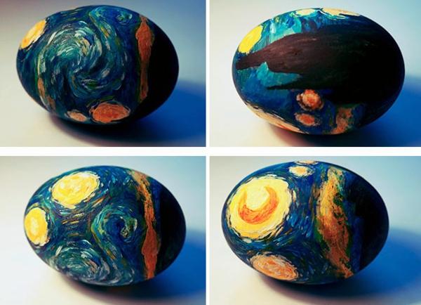 osterdekoration ostereier künstlerisch van gogh