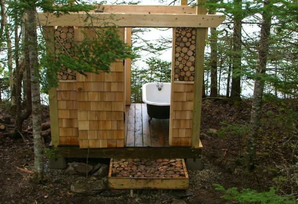 Outdoor Dusche Sichtschutz : outdoor dusche sommer badezimmer freistehende badewanne