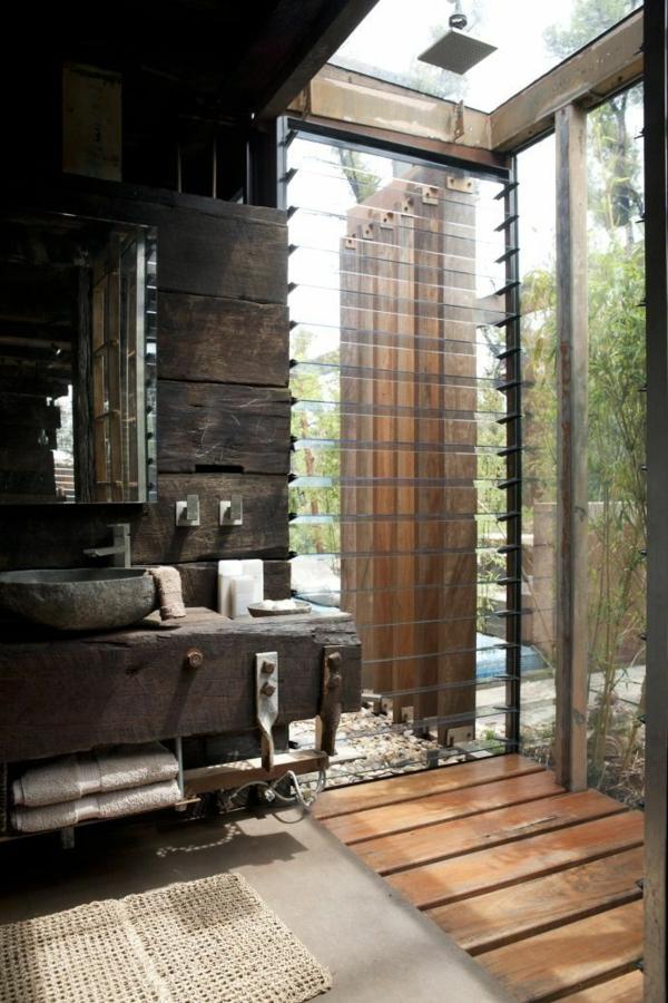 Kieselsteine Dusche Verlegen : outdoor dusche sommer badezimmer holzboden verlegen