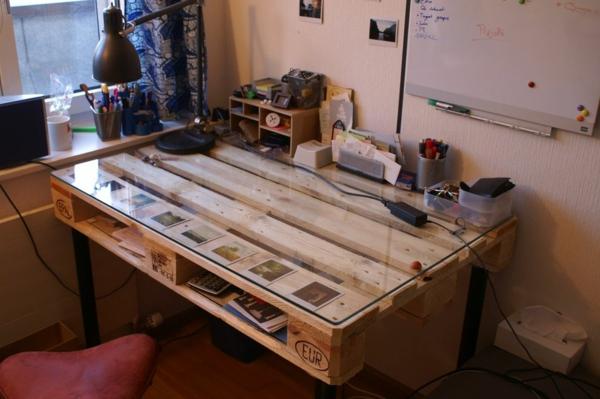 paletten tisch arbeitstisch design glas