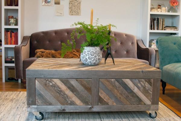 paletten tisch design räder wohnzimmer einrichten