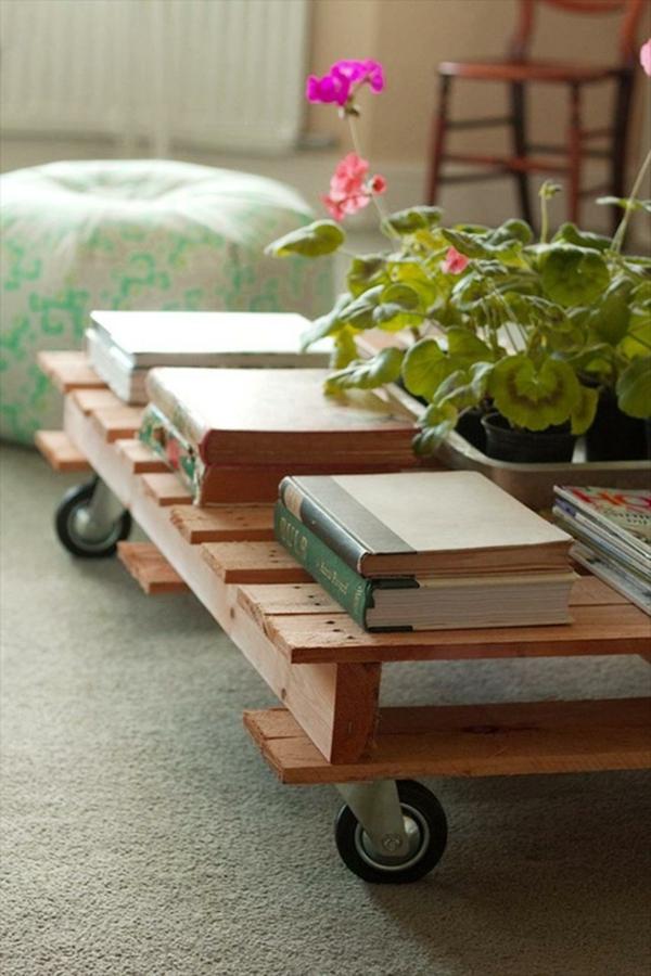 paletten tisch wohnzimmer einrichten holztischräder
