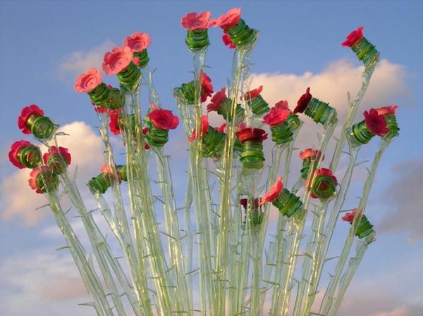 pet flaschen kunst rosen dornen plastik