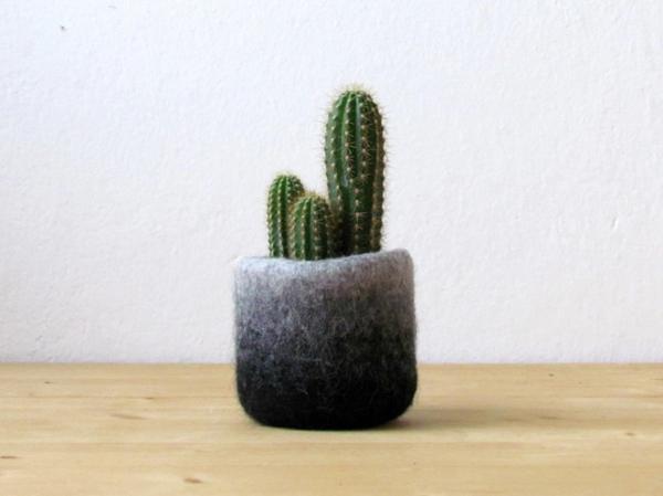 pflanzenkübel filz handgemacht ombre stil