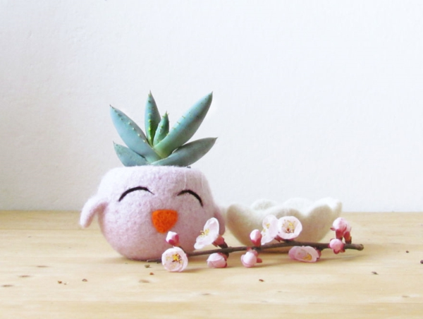 pflanzenkübel filz handgemacht rosa küken