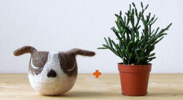 pflanzenkübel filz hund tier