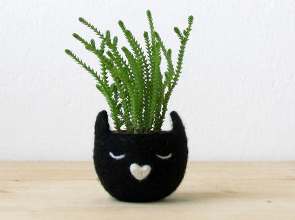 pflanzenkübel filz schwarze katze