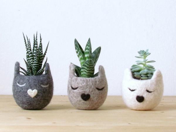 pflanzenkübel filz tiere katzen