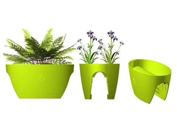 Platzsparende Pflanzkübel und Möbelstücke für Innen und Außen