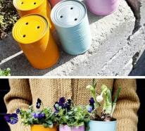 Originelle Pflanztöpfe aus gebrauchten Gegenständen und Naturmaterialien