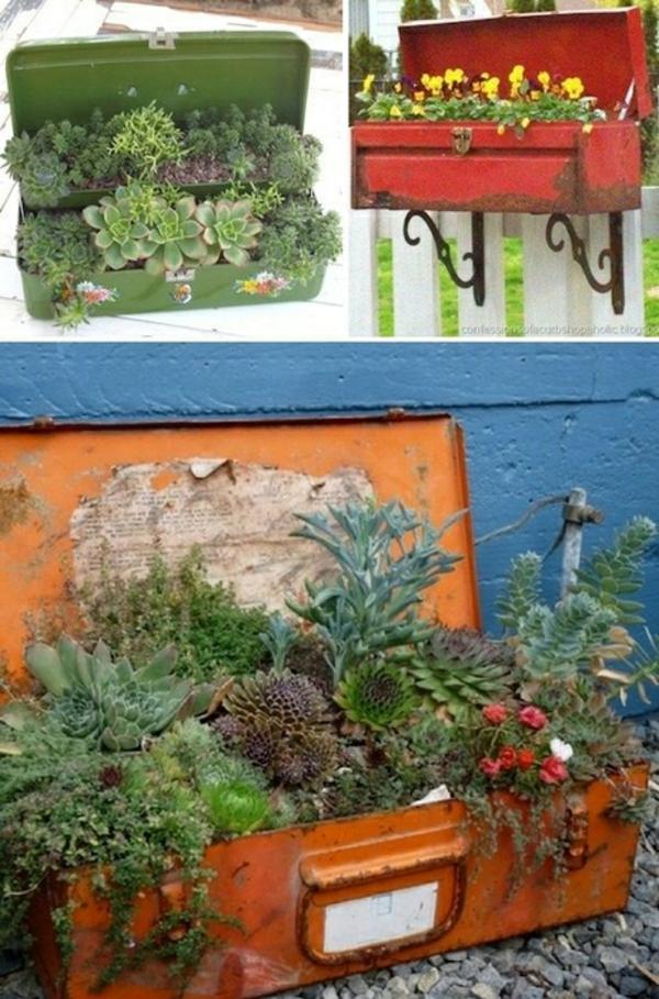 originelle pflanztöpfe aus gebrauchten gegenständen selber machen, Design ideen