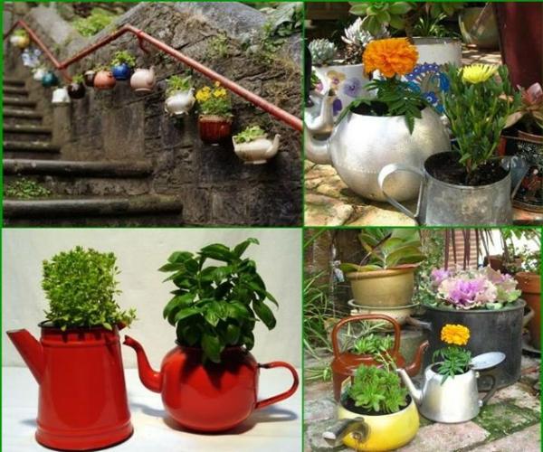 pflanztöpfe alte teekannen