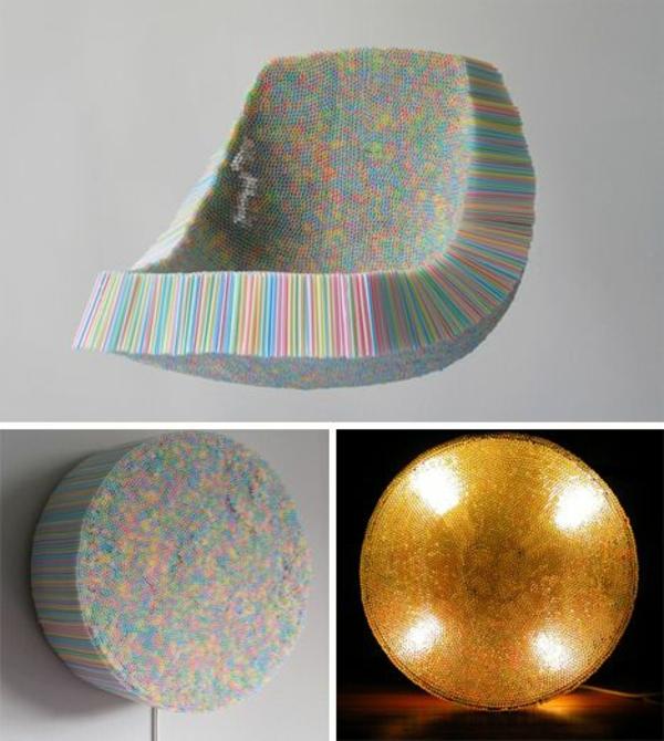 plastik kunst strohhalme beleuchtung