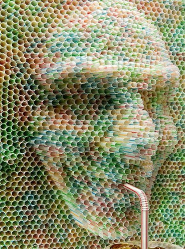 plastik kunst strohhalme dreidimensionales porträt