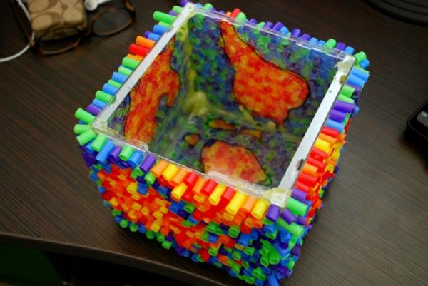 plastik kunst strohhalme glas schüssel