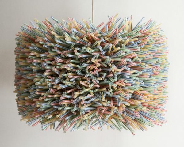 plastik kunst strohhalme hängeleuchte