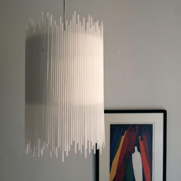 plastik kunst strohhalme kronleuchter weiß