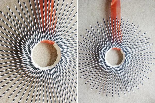 nachhaltige kunst strohhalme wanddekoration