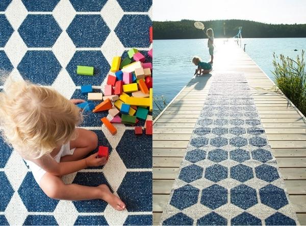 teppich kunststoff  skandinavisches design designer teppiche brita sweden muster blau