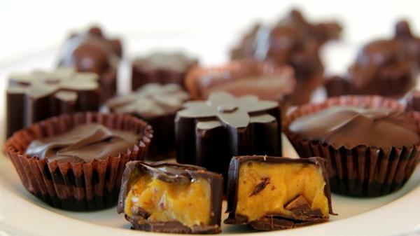 pralinen selber machen dunkle schokolade kürbis ganache