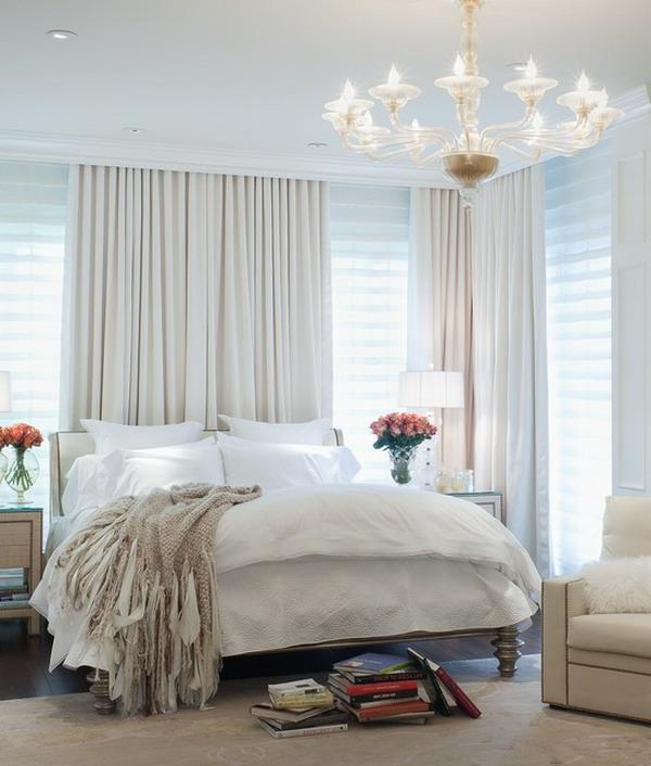 schlafzimer einrichten feminines design lange gardinen deckenleuchten
