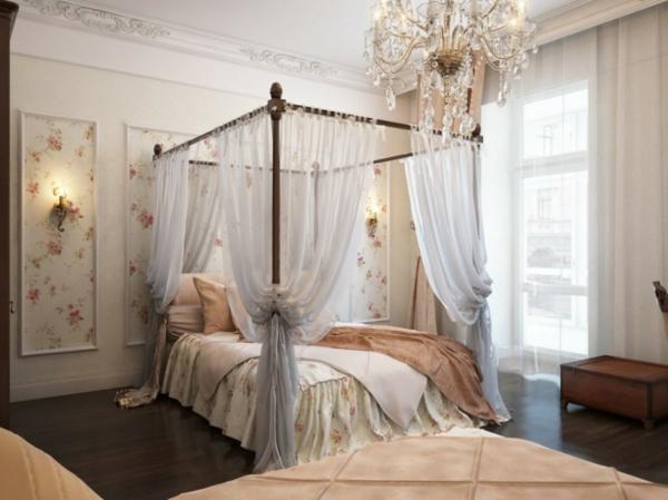 schlafzimmer design betthimmel bettwäsche florale elemente
