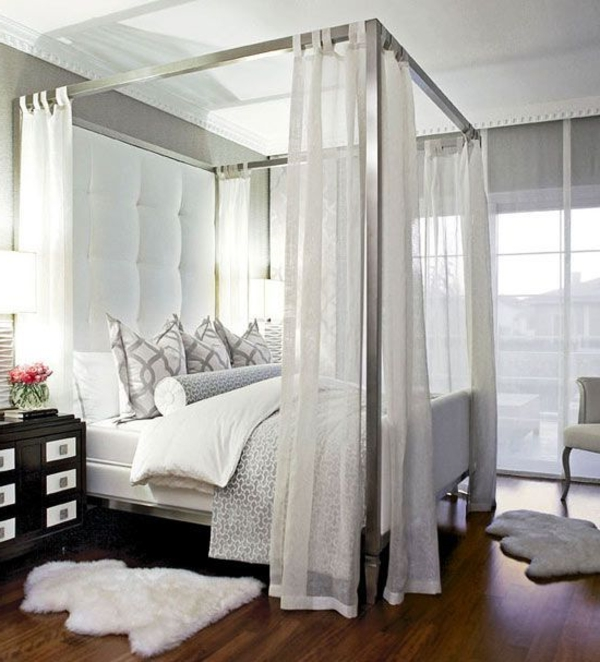 schlafzimmer design betthimmel dekoteppiche dekokissen