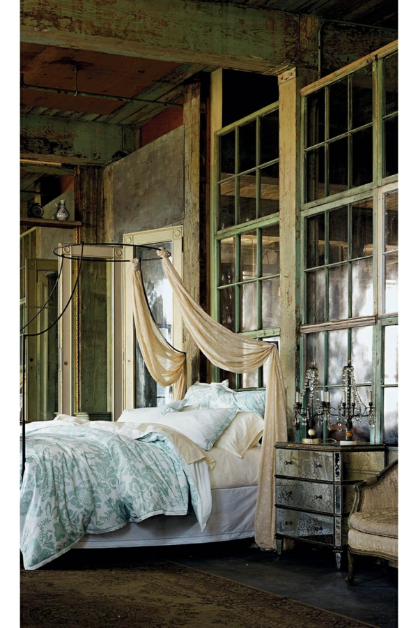 schlafzimmer design betthimmel industrieller look
