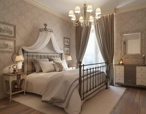 schlafzimmer design betthimmel lange gardinen