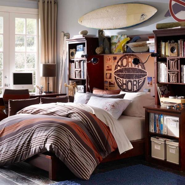 schlafzimmer design jungenzimmer dunkelbraun blau