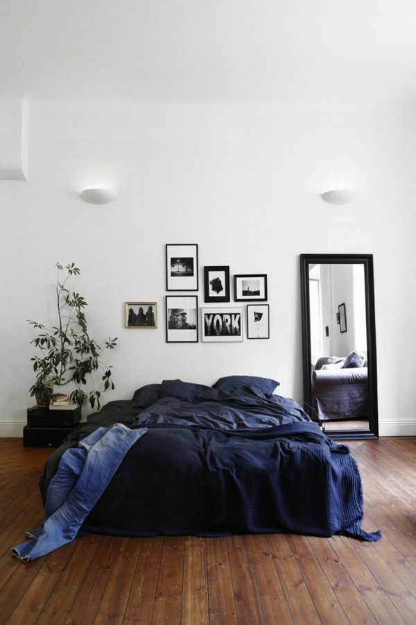 schlafzimmer design minimalistisch männlich pflanze großer spiegel