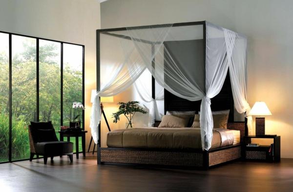 schlafzimmer design modern elegant betthimmel