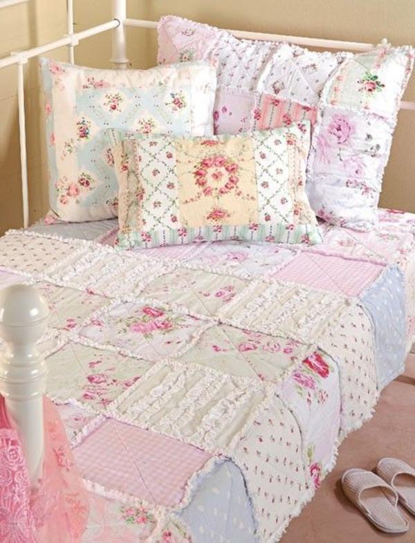 schlafzimmer design shabby chic dekokissen bettdecke