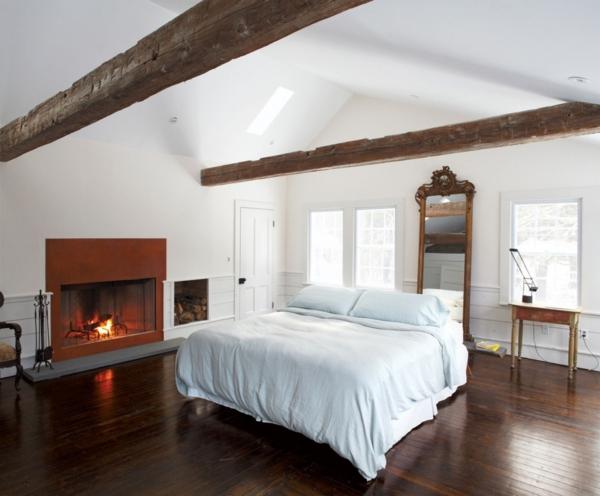 schlafzimmer design shabby chic schlicht kamin