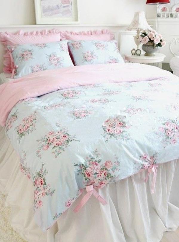 schlafzimmer design shabby chic weiß rosa hellblau